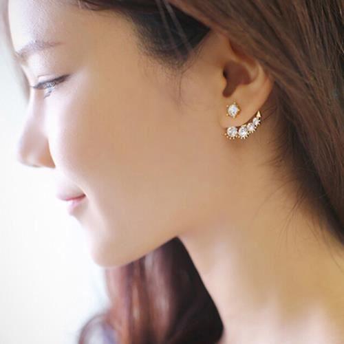 femmes boucles d 39 oreilles asym trique faux perle strass bijoux de soir e de mariage achat. Black Bedroom Furniture Sets. Home Design Ideas