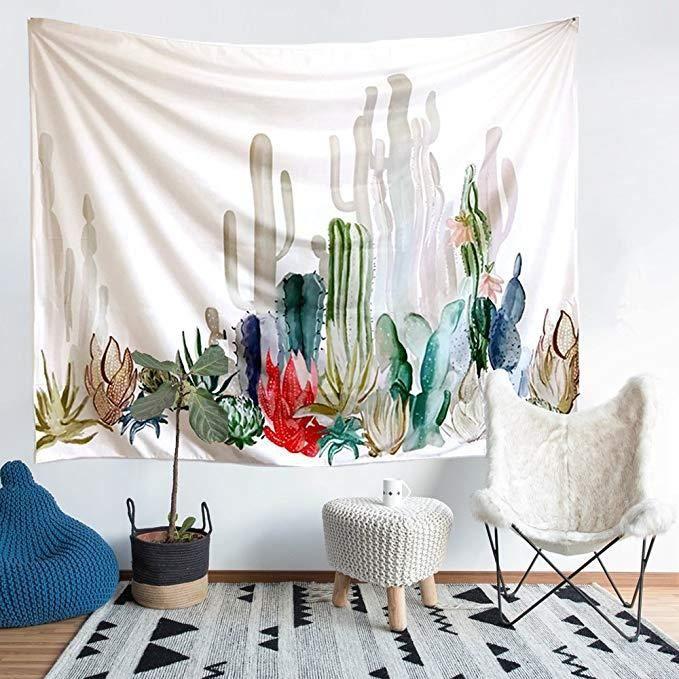 Cactus Decor Tapisserie Murale Suspendue Deco Art Couverture Tenture Decoration Interieure Pour Chambre Salon Couvre Lit 200x150cm