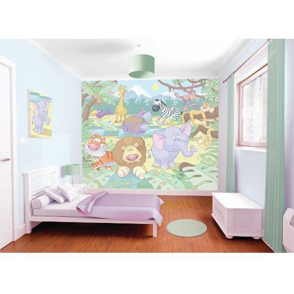 papier peint b b animaux de la jungle walltastic achat vente papier peint papier peint b b. Black Bedroom Furniture Sets. Home Design Ideas