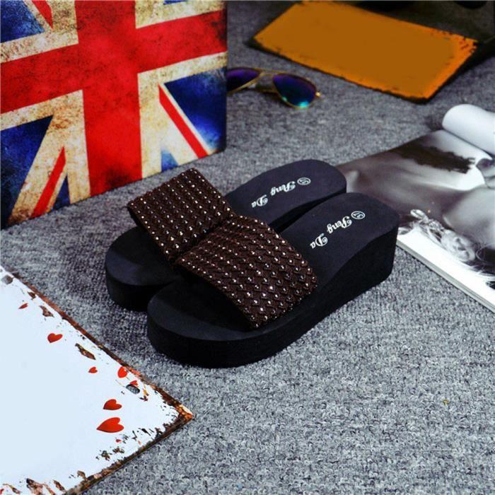 Intérieur Et Chausson Sandales Femmes Les Chaussures D'été Marron Extérieur UWvxHBZ7