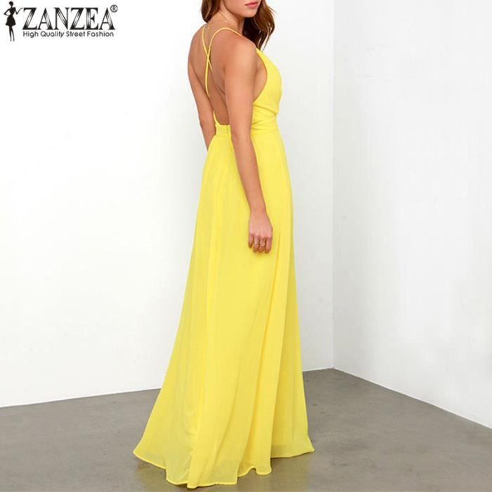 ZANZEA Robe De Soiree Femmes Mode Sexy Decolletage Dos Nu Sans Manche