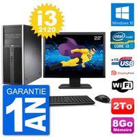 """UNITÉ CENTRALE + ÉCRAN PC Tour HP 8200 Ecran 22"""" Intel Core i3-2120 RAM 8"""