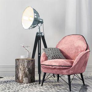 LAMPADAIRE Lampadaire chromé sur trépied style industriel - L