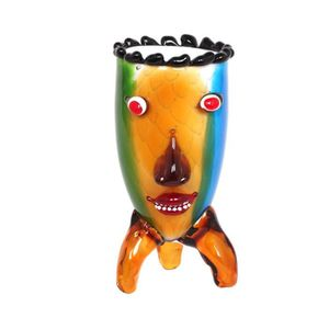 VASE - SOLIFLORE Vase visage trois pieds en verre de style Murano -