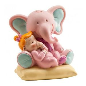 Figurine décor gâteau Figurine Enfant Elephant Rose Bapteme - Décoration