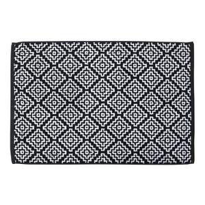 TAPIS DE BAIN  DONE Tapis de bain Boho - 50x70 cm - Noir et blanc