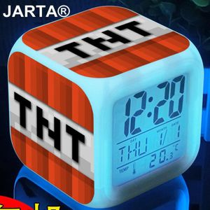 HORLOGE - PENDULE Minecraft 7 Couleur Digital Alarm Clocks cube Chan