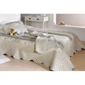 Couvre lit toile de jouy achat vente pas cher - Couvre lit gris clair ...