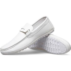 MOCASSIN Mocassin Homme Leisure cuir Pois Chaussures Blanc