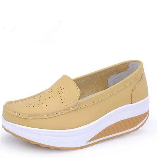 Chaussures Chaussures Femmes Printemps ete Plate-Forme Chaussures Chaussures BJYG-XZ058Jaune40 Jaune Jaune - Achat / Vente escarpin 509153