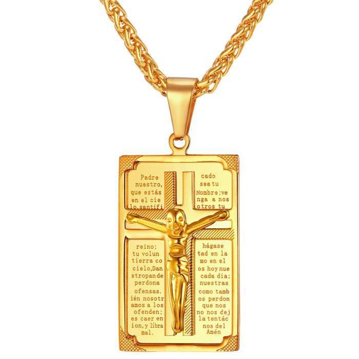 U7 Spiga Médaille Collier Religieux Bijoux Motif Maille Jaune Plaqué Femme Croix Homme Or Pendentif Pour Rectangle XTuZPOik
