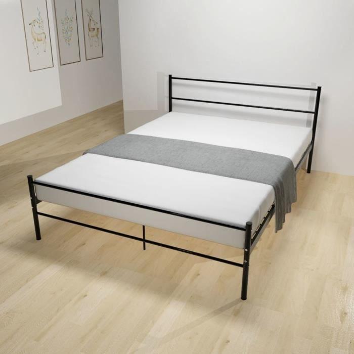 Lits et cadres de lit Cadre de lit Metal Noir 140 x 200 cm   Achat