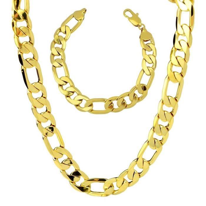 8334448a15434 Bijoux homme Plaqué or 24 carats épais Chaîne figaro Collier + bracelet  Style classique Largeur 12mm