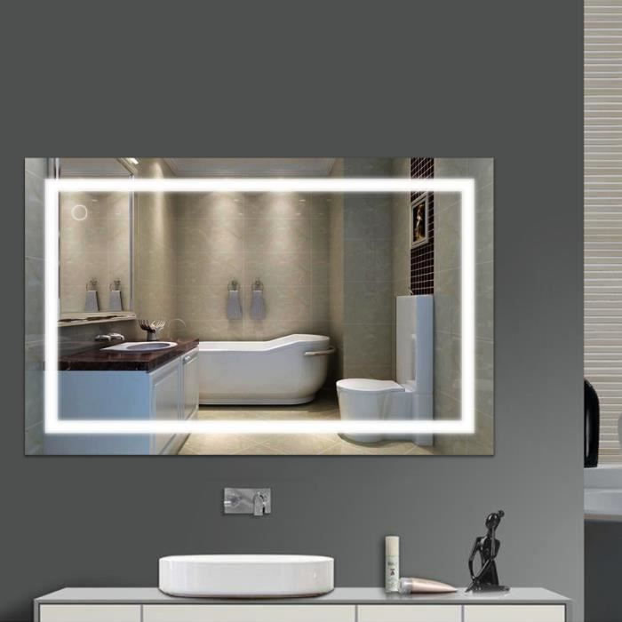LUXS Miroir LED Lampe de Miroir Éclairage Salle de Bain 100*60CM ...