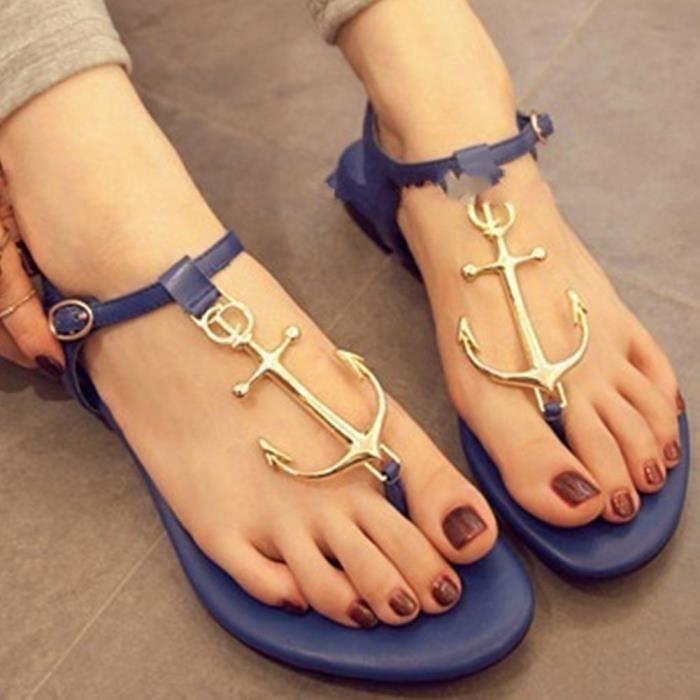 XZ974B7XZ974B7Chaussures Femmes Anchor T Ceinture Sandales Chaussures de plage Nouveau