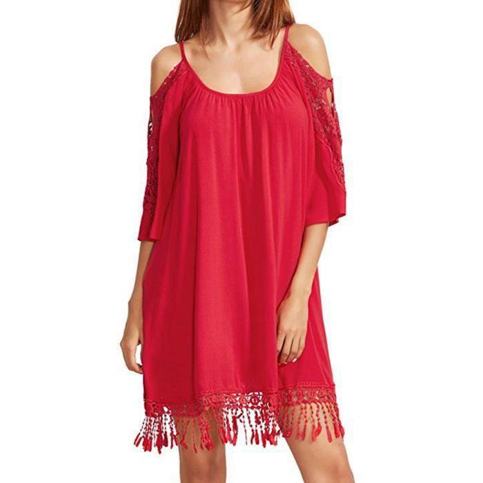 dentelle robe patchwork des femmes de lépaule tenue décontractée
