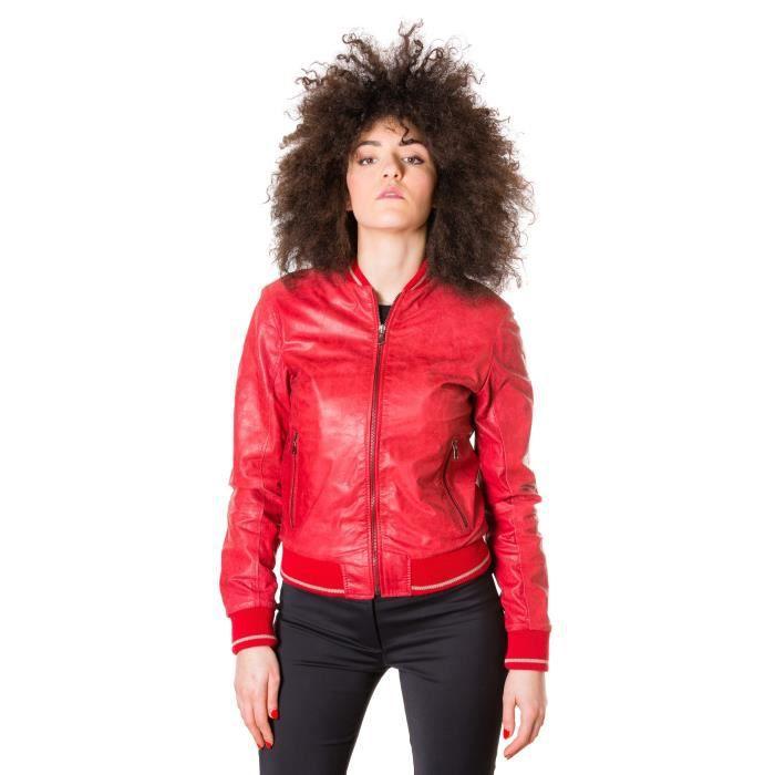 G155 couleur rouge Veste en cuir pull up aspect vintage style bo ... 01259aff32a