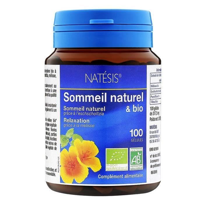 NATESIS Complément alimentaire Sommeil Naturel & Bio - Complexe de 5 plantes - 100 gélules
