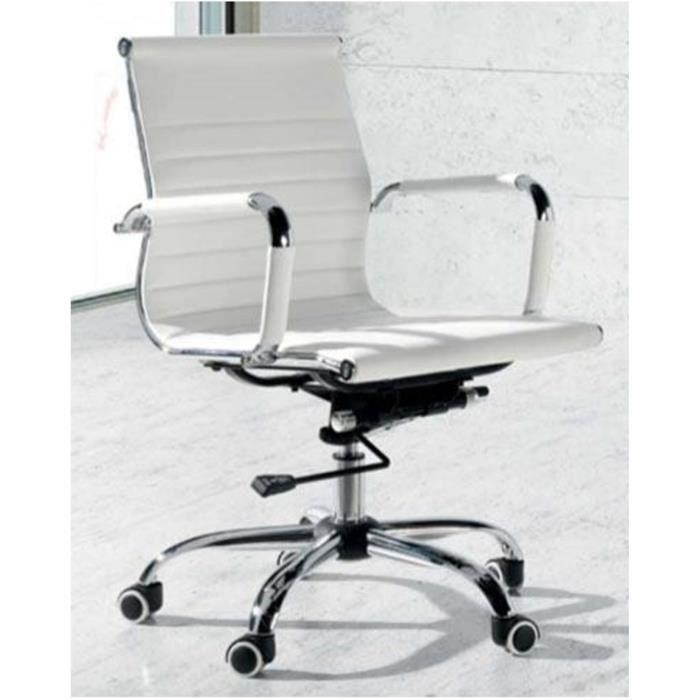 Chaise De Bureau Coloris Blanc En Cuir Synthétique Dim L 65 X P