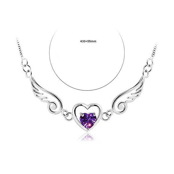 Glamorousky Collier en forme dange à la mode avec un cristal délément autrichien violet (24218)