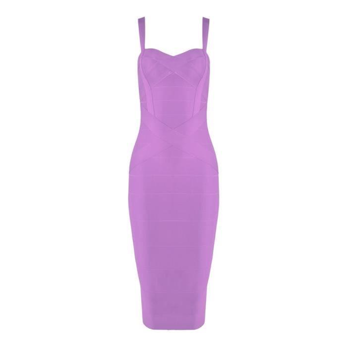Womens Rayon Spaghetti Strap Midi-calf Bandage Dress 2XETGY Taille-32
