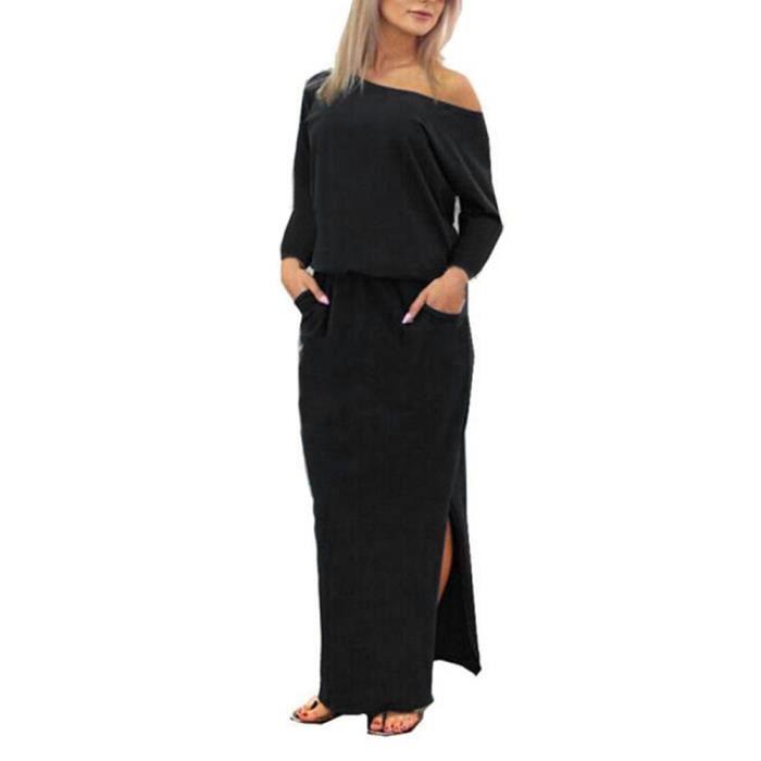 Vroenment®Femmes Maxi Manches Longues Maxi BOHO Robe de Soirée avec Poche@zf235