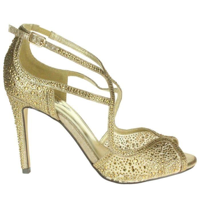 Talons Prom Taille De Mariage Mariée Chaussures À Hauts Femmes 3eiwhw Peeptoe Sandales Soirée Taille 41 Diamante wpzBwq
