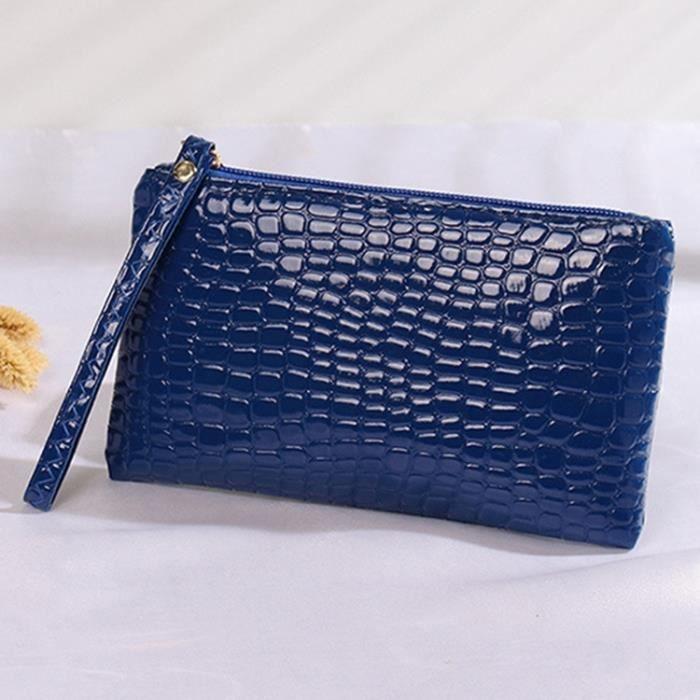 Main Texture Pochette À 2 Sac Crocodile Pcs 20 Bleu De 12cm Taille nTxf1wxF