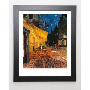 VAN GOGH Image encadrée Terrasse de Café - 47x57 cm - Jaune