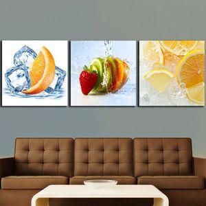 OBJET DÉCORATION MURALE 3 pcs Citrons Orange fruits peintures pour la cuis