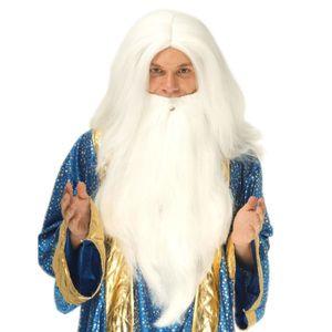 CHAPEAU - PERRUQUE Perruque sorcier avec barbe homme - 230656 (Taille