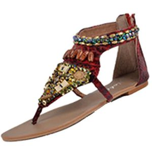 SANDALE - NU-PIEDS String style ethnique Bohème perlé à Rome avec des