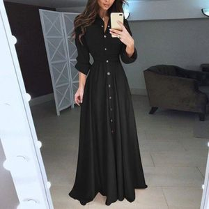 ROBE Femmes Lady Fashion Casual manches longues revers