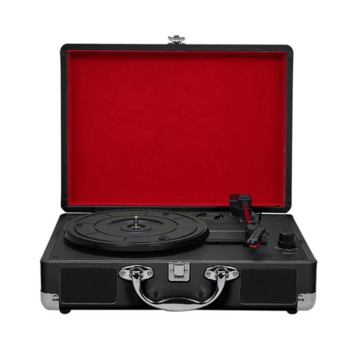 Platine Vinyle Avec Haut-parleurs Phonograph Vintage Tourne-disque Stéréo Son Noir