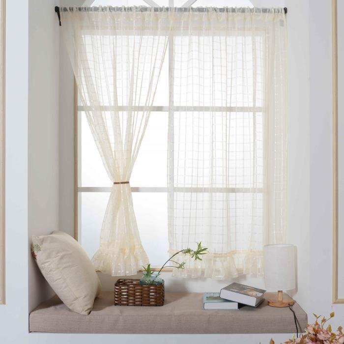 da67f12c0c4a Rideaux de fenêtre avec treillis de dentelle Panneaux de traitement de  fenêtre de couleur unie Porte Drape JJZS   6367