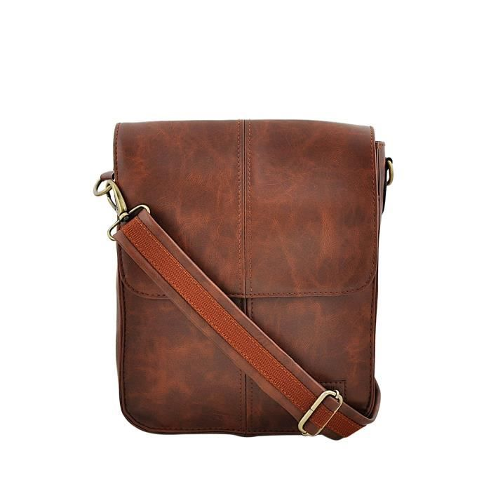 Mens Tan Synthetic Leather Messenger Bag In Executive Look And Comfortable Handle D74SO