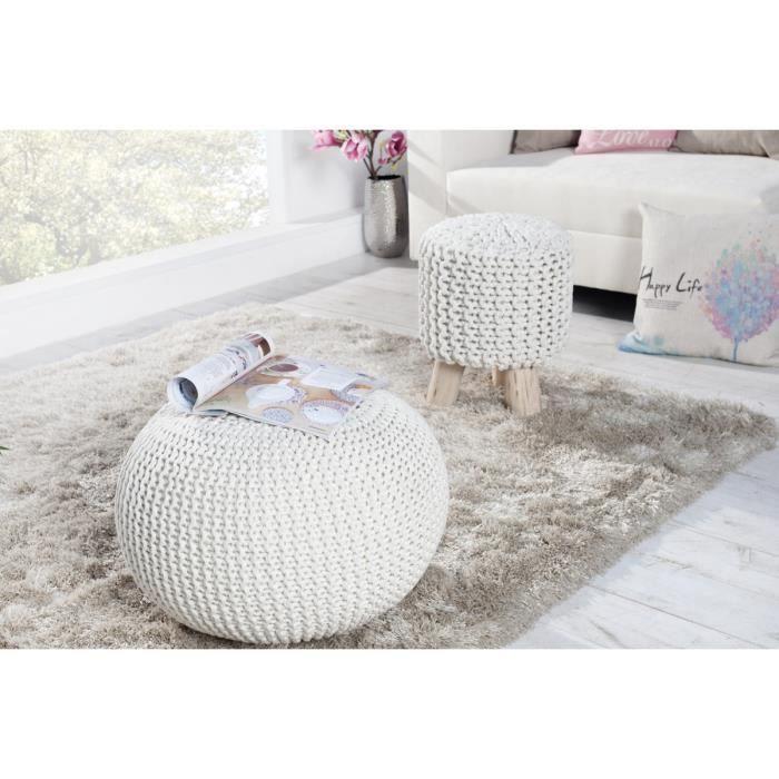 Pouf grosse maille tricoté blanc 50 cm - Achat   Vente pouf - poire ... 2757d1f515d