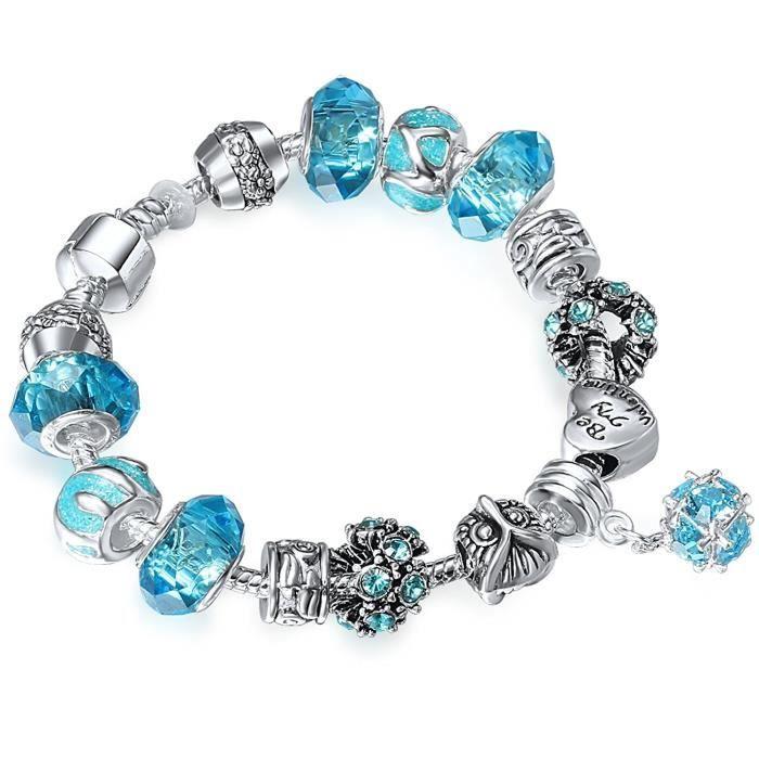 Bracelet Charms Femmes Amour Romantique Verre Bleu Cadeau