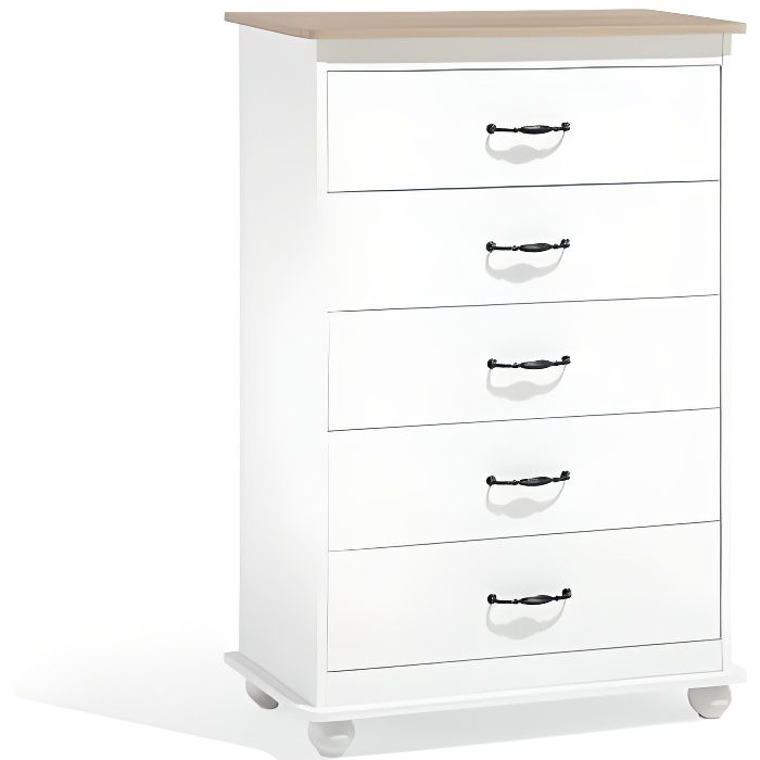 Commode blanche 5 tiroirs Sharon - Achat / Vente commode de chambre ...