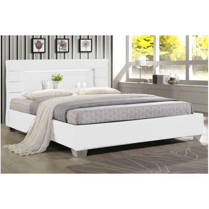 Lit Design Blanc En PU Avec Led Intégrée X Achat Vente - Lit design 160 x 200
