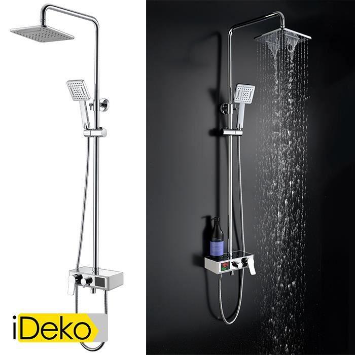 ideko robinet colonne de douche avec 2 pommeaux douchette led num rique douche pluie jet. Black Bedroom Furniture Sets. Home Design Ideas