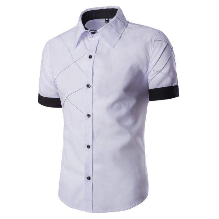 42211098686 Chemise à Manches Courtes Homme la Mode Chemise Blanche Casual Homme Slim  Fit Marque Noire Bleu