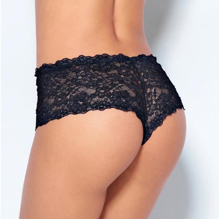 Culotte brésilienne en dentelle femme Noir - Achat   Vente culotte ... 8d093626ef3