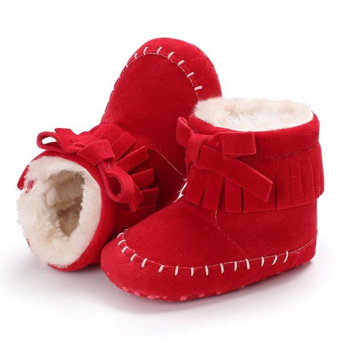bébé fille douce bottes de neige Bottes Infant Toddler nouveau-né Chaussures de réchauffement noir E6XtfNW7