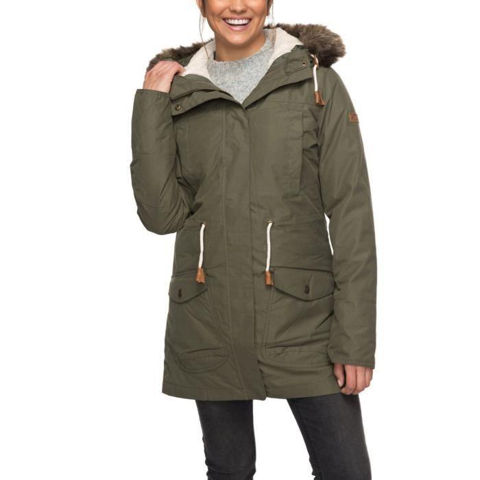Roxy Manteau Achat Kaki Jacket D'hiver 3n1 Amy Parka Vente UnUgrq15