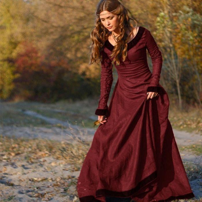 59d27a05f64 exquisgift®Vintage robe médiévale Cosplay Costume Princesse Renaissance  gothique pour Femmes ROUGE~BEJ71012143RDA