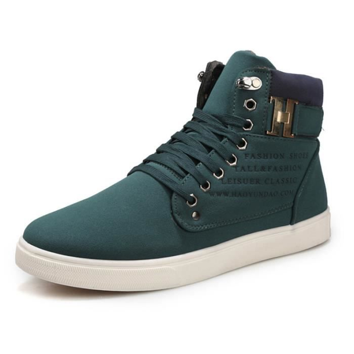 OLALI® Automne Chaussures En Cuir Pour Homme New High Top Casual Chaussures