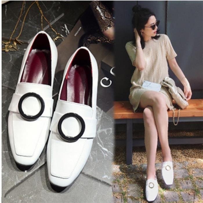 Chaussures épaisse HeelsWomen Pompes en cuir souple rue styleLadies Chaussures New Stiletto,noir,38