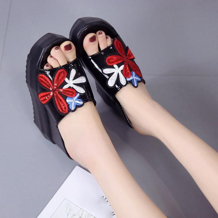Femmes Chaussures Hauts Sliped Pantoufles Platform Sloped Talons noir Paisses Wedges Embroidered BRBwxTqf
