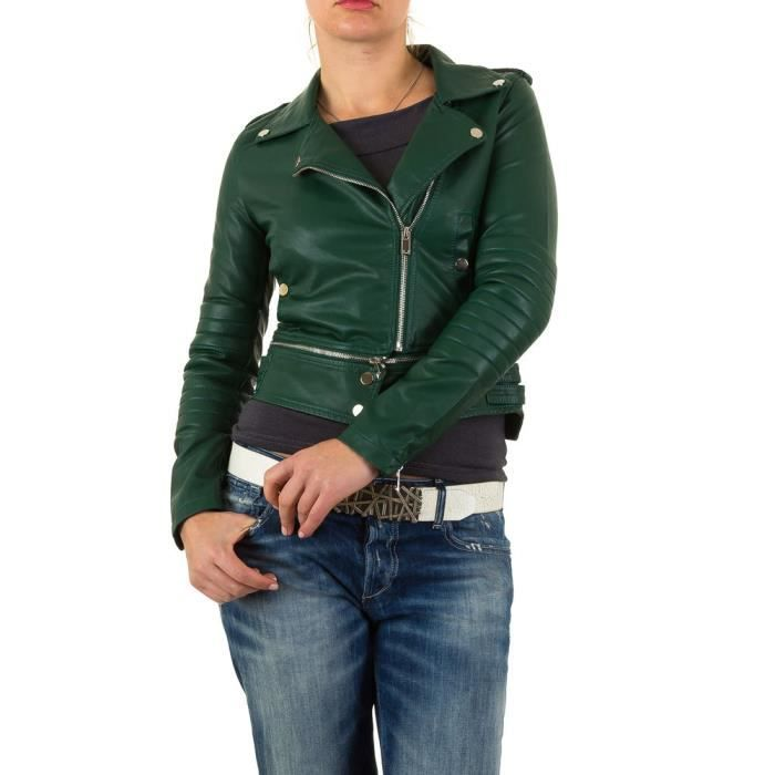 1 Clair rosa Nr Veste modell En Motard Rosa marron Vert D'été Vert Xl Cuir De Transition Femmes Imitation OafqPSS